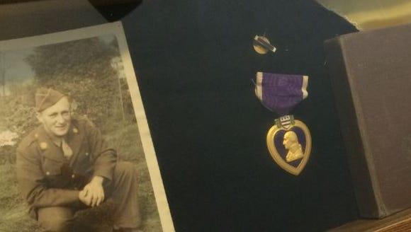 A photo of Wayne Clark of the Purple Heart bestowed