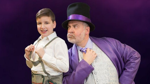 Eli Eisenbergl (left) plays Augustus Gloop, while BP veteran Dennis Moylan as Willy Wonka.