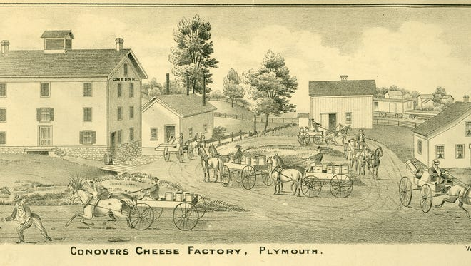 This 1875 Sheboygan County Atlas drawing shows the Hiram Conover cheese factory complex.  A New York native, Conover started making cheese in 1861 in a newly built wooden shed on his farm along Highway C (old Highway 23) east of Plymouth.