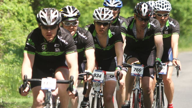 Thousands of cyclists from 70 nations take part in the Campagnolo Grand Fondo New York on May 15. In this file photo, cyclists on Western Highway in Blauvelt take part in the 2011 Gran Fondo race.