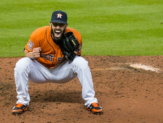 FILE - In this Aug. 21, 2015, file photo, Houston Astros pitcher Mike Fiers reacts after his no-hitter in a baseball game against the Los Angeles Dodgers in Houston. Long before they made it to the World Series from separate leagues, the Astros and Dodgers were plenty familiar with each other. (Brett Coomer/Houston Chronicle via AP, File)