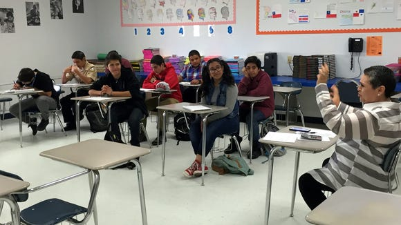 Freshmen listen to their teacher in an Advanced Placement Spanish class at San Elizario High School on Oct. 29.