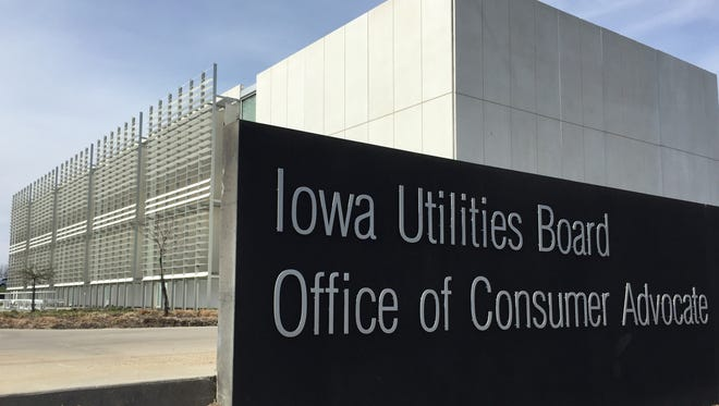 The three-member Iowa Utilities Board is housed at the Iowa Capitol complex in Des Moines.