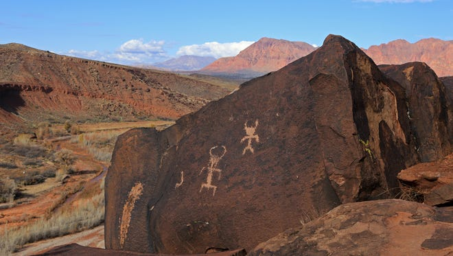 Dozens of petroglyphs panels can be found at the Land Hill Heritage Site above the Santa Clara River near Ivins.