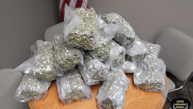 Marijuana seized by state patrol after traffic stop on Ohio Turnpike.