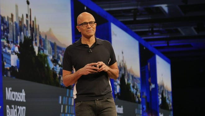 Microsoft CEO Satya Nadella on stage at Build 2017 in Seattle.