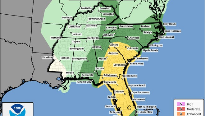 Damaging winds (50-70 mph) are possible again tomorrow with an additional 1 to 3 inches of rain. Storms are expected during the day and will end by the evening. Tides will also be above normal along parts of Apalachee Bay tomorrow with high tide between noon and 2:30pm EDT.