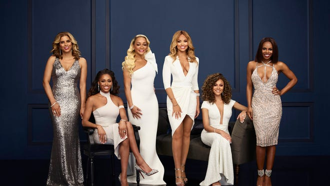 """""""The Real Housewives of Potomac"""" season 3 cast. Pictured (l-r): Robyn Dixon, Monique Samuels, Karen Huger, Gizelle Bryant, Ashley Boalch Darby and Candiace Dillard."""
