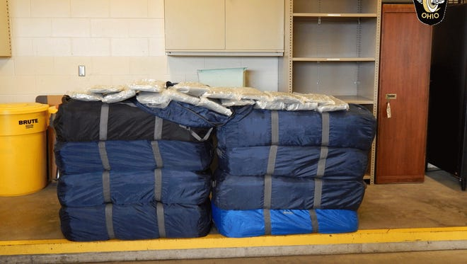 Photo of the bags seized by police on Thursday.
