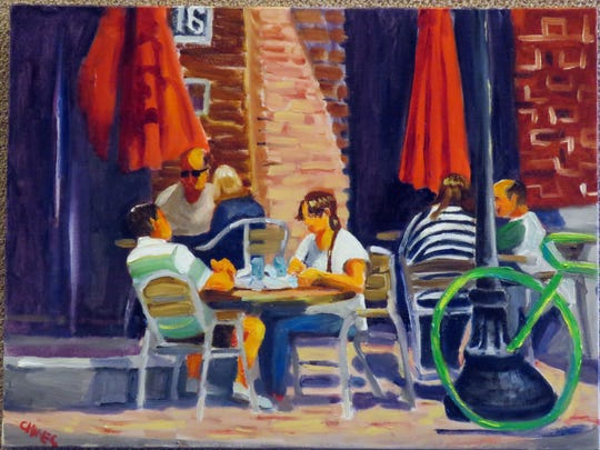Cecile Hines work Palafox Saturday at the Quayside Art Gallery.