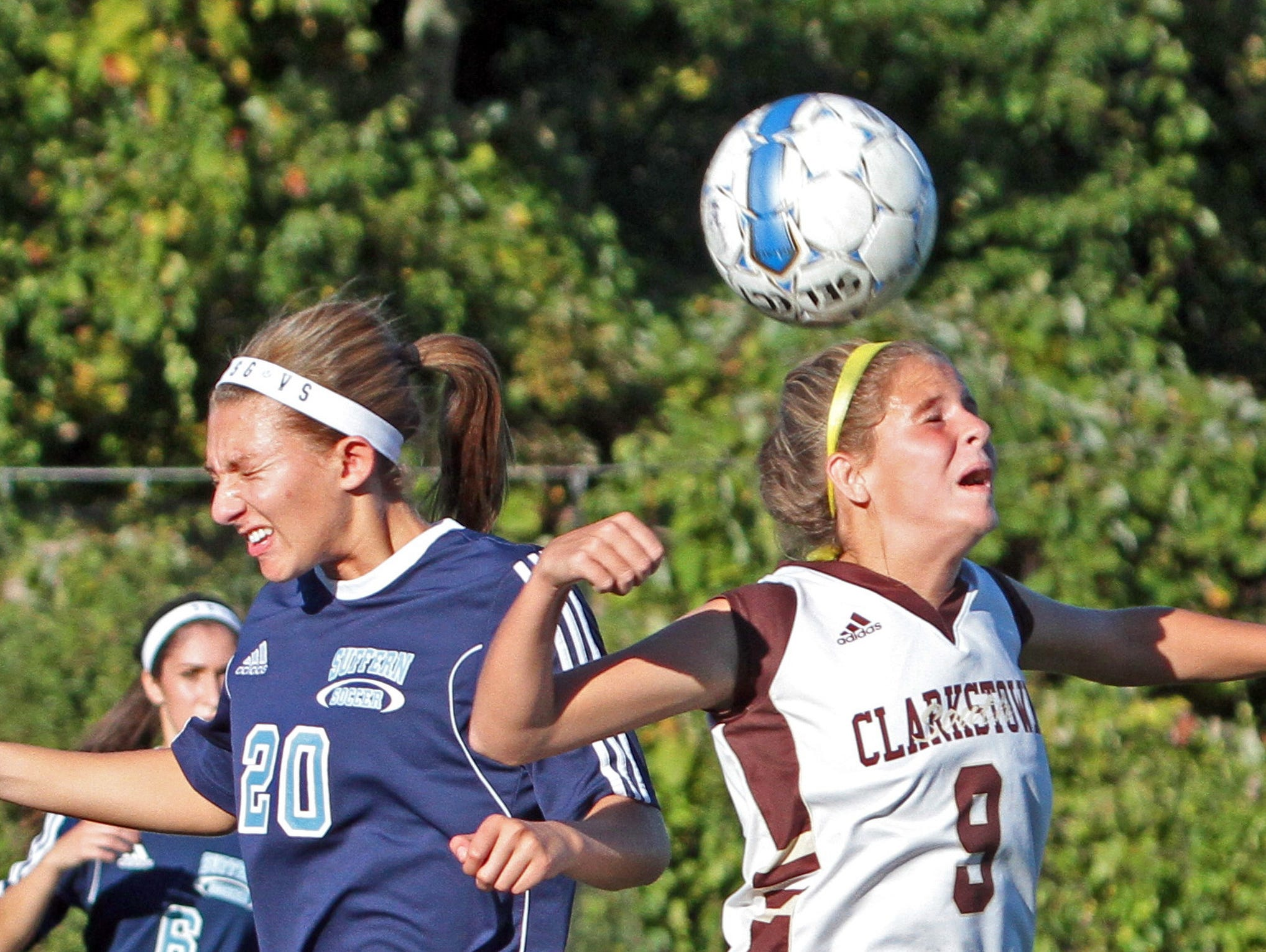 Clarkstown South's Abby Montera beats Suffern's Jayne Goldman to the ball during a varsity soccer game at Clarkstown South High School Oct. 6, 2015. Clarkstown South handed Suffern it's first loss of the season with a 4-1 victory.