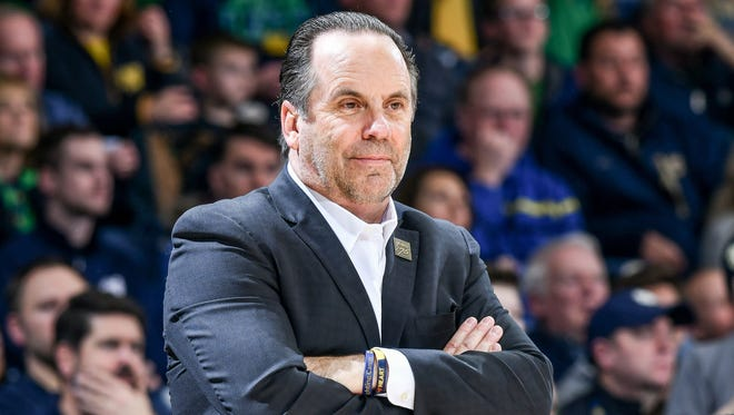 Jan 3, 2018; South Bend, IN, USA; Notre Dame Fighting Irish head coach Mike Brey watches from the bench in the second half against the North Carolina State Wolfpack at the Purcell Pavilion. Mandatory Credit: Matt Cashore-USA TODAY Sports