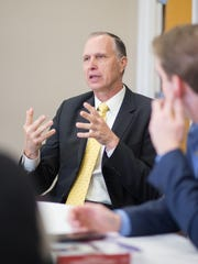 Provost candidate, Dr. Rex Gandy, speaks and answers questions at the student open session at Austin Peay State University on Wednesday, Feb. 2, 2015.
