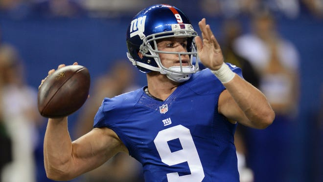 The Giants' Ryan Nassib throws during the second half of an NFL preseason football game against the Indianapolis Colts on Saturday, in Indianapolis. The Giants won 27-26.