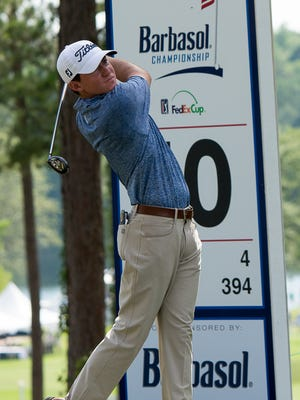 Michael Johnson on the 10th tee during the third round of the Barbasol Championship on the RTJ Golf Trail at Grand National  in Auburn, AL July 16, 2016.