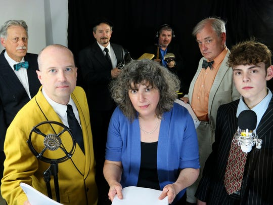 "Actors from Studio 271 Productions will present the Rod Serling radio drama ""It Happens To You: The Time Element"" as part of SerlingFest in Binghamton. Back row from left are Nick DeLucia (Narrator), John Montgomery (Reporter/SFX), Bill Murray (Sound Effects Manager) and Mitch Tiffany (The Doctor); front row, Joe Bardales (Paul Ramsey), Nancy Oliveri (The Nurse/Secretary) and Matthew Beach (Singer/Hotel Clerk)."