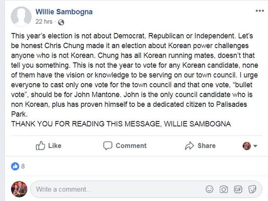 Sambogna Facebook post