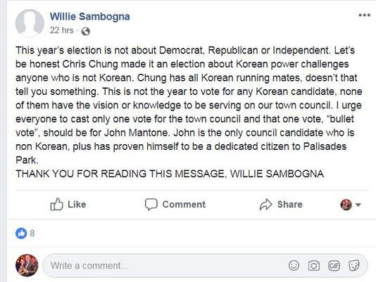 Sambogna Facebook post
