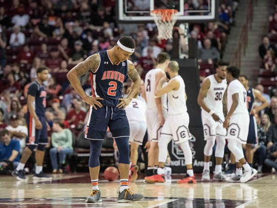 Auburn guard Bryce Brown (2) reacts to a South Carolina