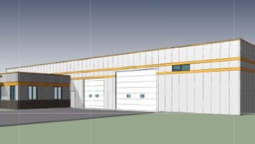 A rendering of Side x Side Construction's new building, set for the Northgate Business Park in North Fond du Lac.