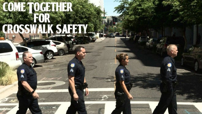 Phoenix police sergeants pose for the launch of a new crosswalk safety campaign