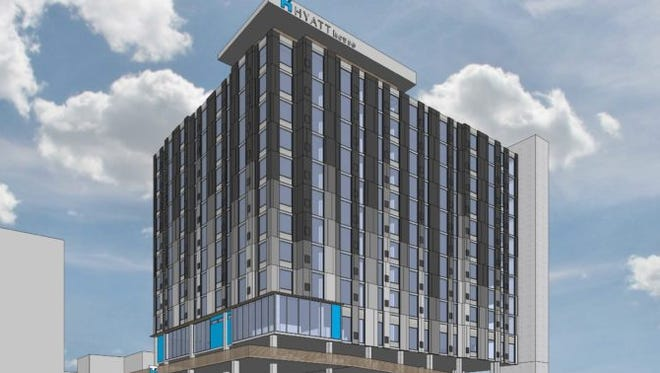 A rendering of the Hyatt House hotel planned at 121 21st Ave. N.
