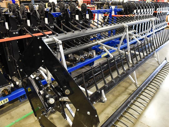 Parts sit ready to assemble for draper heads at Geringhoff  Friday, June 30, at the St. Cloud manufacturing facility.