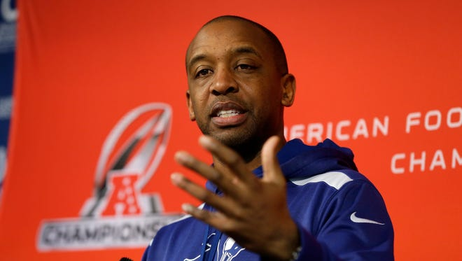 Pep Hamilton answers a question as Indianapolis Colts offensive coordinator Jan. 15, 2015.