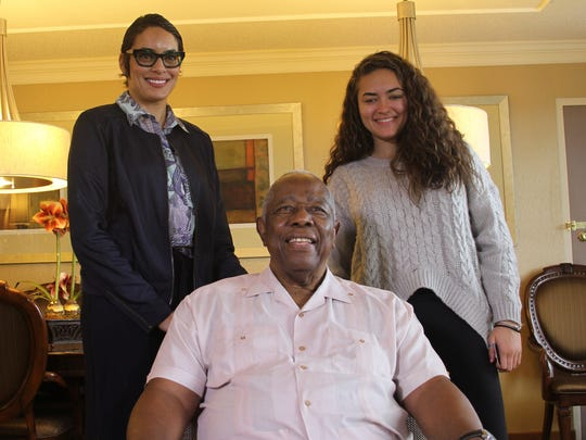 Baseball great Hank Aaron is photographed with his daughter, Cecile Haydel and his granddaughter, Emily Haydel. Emily graduated from the University of Michigan on April 29, 2017 and the family was in to attend the event at the Big House. The picture was taken in Ypsilanti on April 27, 2017.
