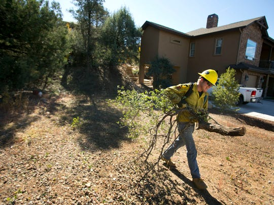 Zane Bourner, a worker with Smokey Pine Forestry, moves chaparral brush that had been cut along the side of a home in the Quail Hollow Community of Prescott on  Oct. 30, 2013.
