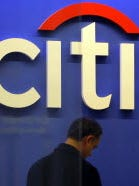 File photo shows a man at a Citibank branch in Citigroup's New York City world headquarters