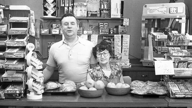 Francis Schiedemeyer (Butch)  at the concession stand at the Milwaukee County Courthouse in 1979. He is pictured with his wife Edith.