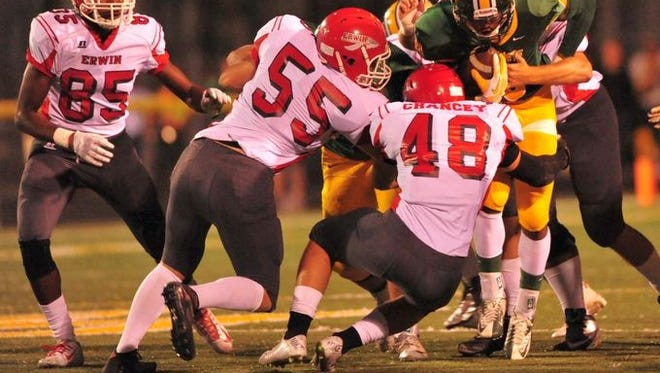 Erwin's Mitchell Chancey (48) made 25 combined tackles in Friday's win at Reynolds.