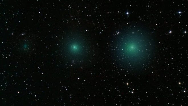 Sporting a surprisingly bright, lovely green coma Comet 252P/Linear poses next to the Large Magellanic Cloud in this southern skyscape. The stack of telephoto exposures was captured on March 16 from Penwortham, South Australia. Recognized as a Jupiter family periodic comet, 252P/Linear will come close to our fair planet on March 21, passing a mere 5.3 million kilometers away. That's about 14 times the Earth-Moon distance. In fact, it is one of two comets that will make remarkably close approaches in the next few days as a much fainter Comet Pan-STARRS (P/2016 BA14) comes within 3.5 million kilometers (9 times the Earth-Moon distance) on March 22. The two have extremely similar orbits, suggesting they may have originally been part of the same comet. Sweeping quickly across the sky because of their proximity to Earth, both comets will soon move into northern skies. ORG XMIT: C1qC60dTsLU_ZWPceQXv [Via MerlinFTP Drop]