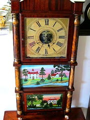 An ornate, eight-day Birge & Mallory clock from 1837 that Tristan Wier of WierClock repaired and restored.