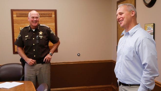 Lt. Tom Lehman, right, shares a laugh with Sheriff Barry Richard as he discusses his promotion to jail commander Tuesday, November 7, 2017, at the Tippecanoe County Jail. Lehman will take over jail commander duties in June 2018, replacing Capt. Denise Saxton, who is retiring. Richard said making the decision now allows Lehman several