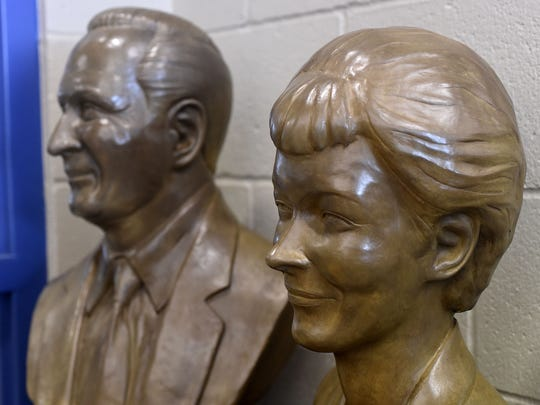 Bronze busts of Evelyn and Robert Hackler are on display in the Hackler Intermediate School's library.