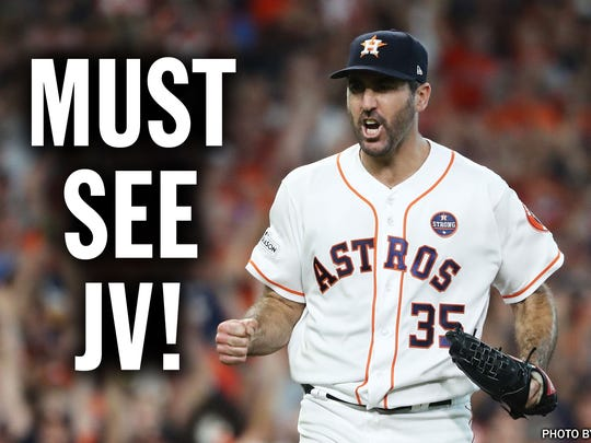 Must See JV! Verlander's line against the Yankees in Game 2 of the ALCS: 9 innings, 1 run, 5 hits, 1 walk, 13 strikeouts and a walk-off win, Oct. 14, 2017.