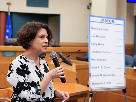 Rebecca Huerta, city secretary, explains the process by which the ballot order would be selected for the special election for mayor on Tuesday, March 28, 2017 at City Hall.