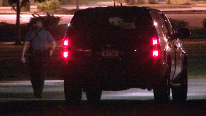 AN SUV with Chelsea O'Donnell inside departs from behind the Barnegat Township, NJ, police department late Tuesday evening, August 18, 2015.   Barnegat police found her in a Village Drive home at about 6 p.m.