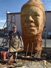 """Artist Mischell Riley's 15-foot scullpture of """"Maya's"""