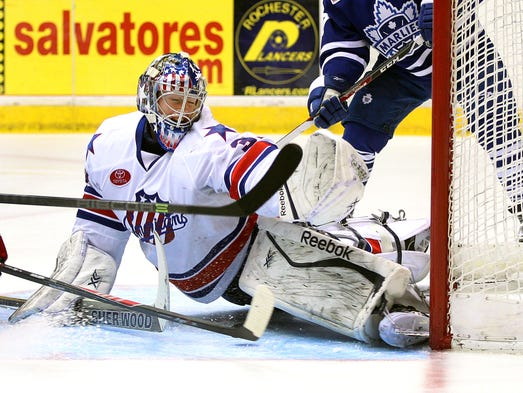 Amerks goaltender Nathan Lieuwen came up big on several occasions.