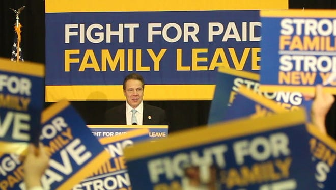 Gov. Andrew Cuomo speaks at a rally at the Feb. 22 West Haverstraw Community Center for paid family leave.