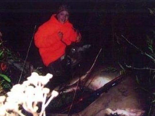 Saturday, Robert Sickinger, 11, shot his first deer,