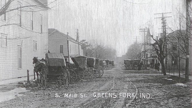 Main Street in early Greens Fork, the sixth-oldest town still in existence in Wayne County.