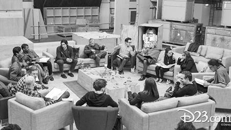"""A photo of """"Star Wars: Episode VII"""" cast and production crew meeting in London was posted by Disney D23 Tuesday morning at d23.com, following the announcement of cast members."""