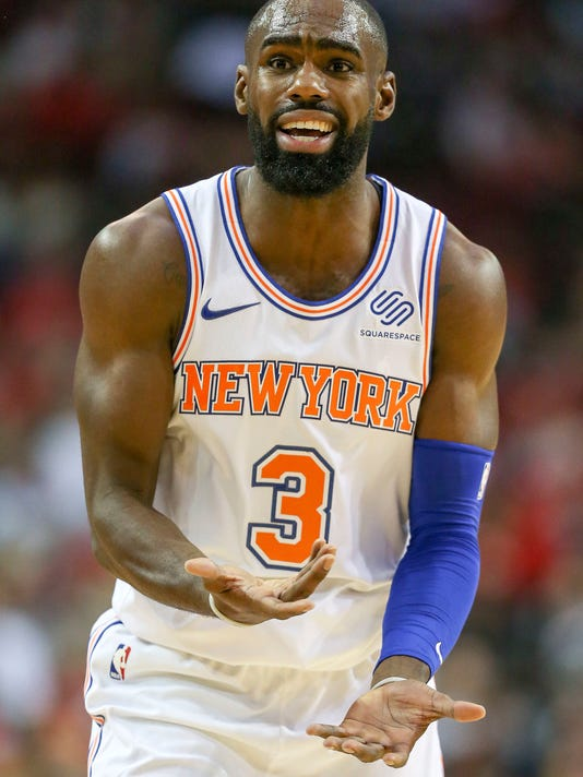 New York Knicks forward Tim Hardaway Jr. reacts after being called for a foul during the first half of an NBA basketball game against the Houston Rockets, Saturday, Nov. 25, 2017, in Houston. (AP Photo/Eric Christian Smith)
