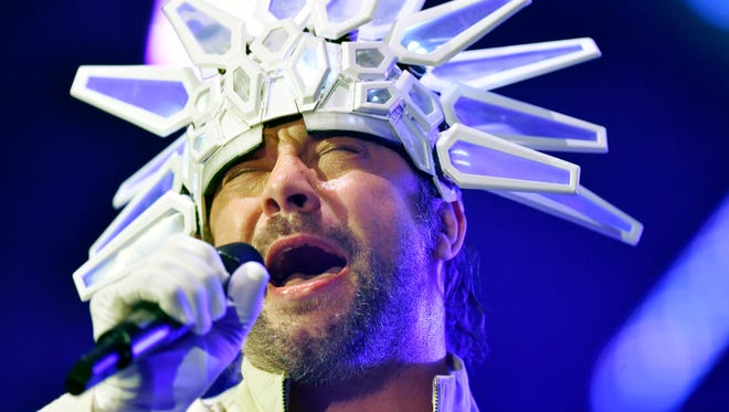 Jay Kay, singer of the British band Jamiroquai, performs during a concert in Zurich, Switzerland, Thursday.