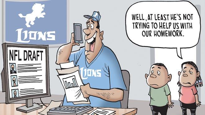 Winner of the Lions NFL Draft cartoon caption contest.