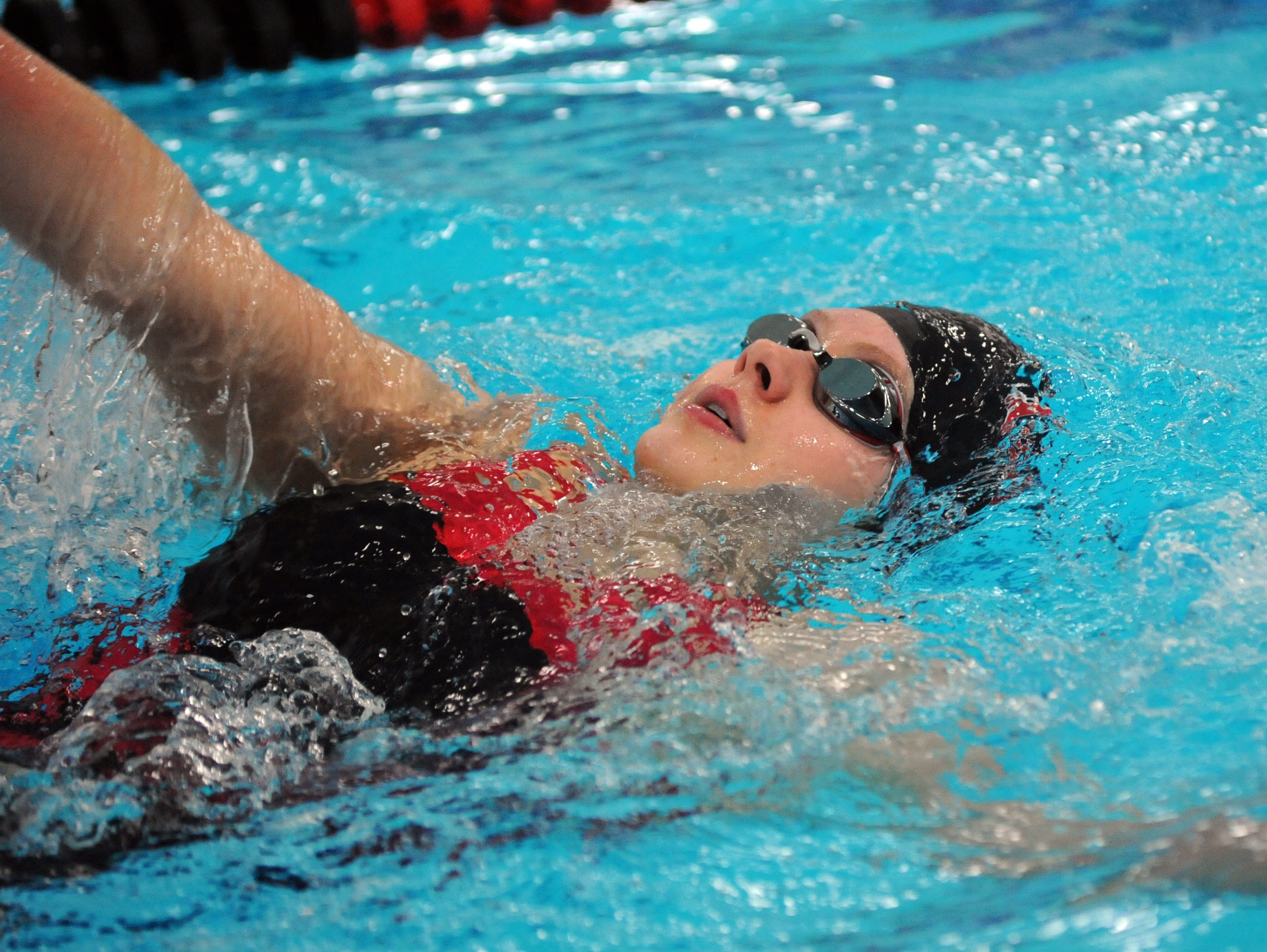 Coshocton's Georgia Brown competes in the 200 meter individual medley Saturday during the 2015 Coshocton Invitational at Coshocton High School.